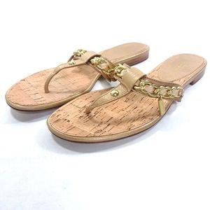 Coach Flats Sandals NWOT Rizzo SZ 10 Gold Shoes